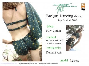 27 Brolgas Dancing top, skirt and shorts details